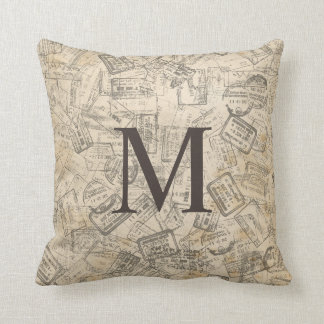 VINTAGE SEPIA PRINT Monogram Pillow