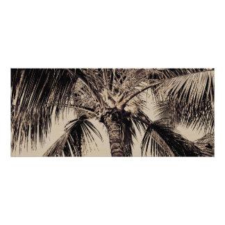 Vintage Sepia Retro Hawaiian Palm Tree Template Custom Announcements