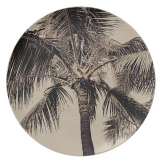 Vintage Sepia Retro Hawaiian Palm Tree Template Plate