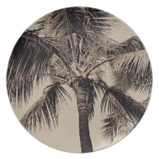 Vintage Sepia Retro Hawaiian Palm Tree Template Plate
