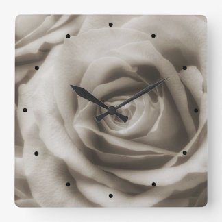 Vintage Sepia Rose Square Wall Clock