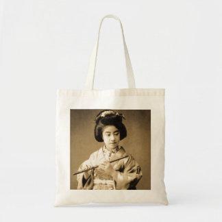 Vintage Sepia Toned Japanese Geisha Playing Flute