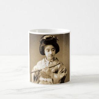 Vintage Sepia Toned Japanese Geisha Playing Flute Coffee Mug