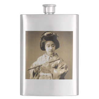 Vintage Sepia Toned Japanese Geisha Playing Flute Hip Flask