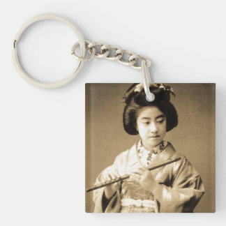 Vintage Sepia Toned Japanese Geisha Playing Flute Key Ring