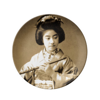 Vintage Sepia Toned Japanese Geisha Playing Flute Plate