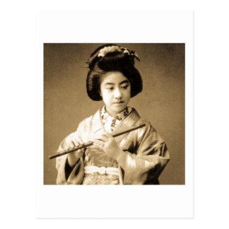 Vintage Sepia Toned Japanese Geisha Playing Flute Postcard