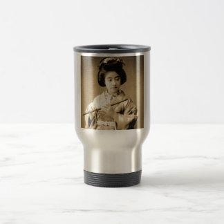 Vintage Sepia Toned Japanese Geisha Playing Flute Travel Mug