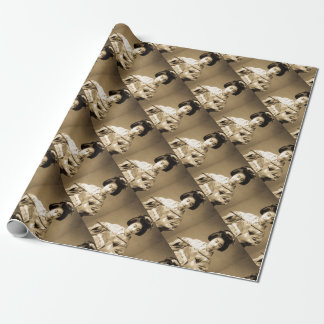 Vintage Sepia Toned Japanese Geisha Playing Flute Wrapping Paper