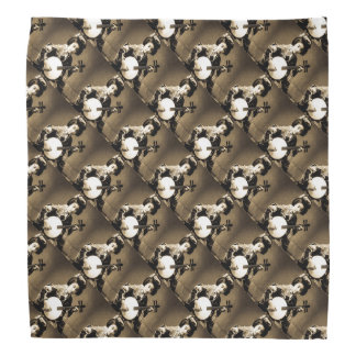 Vintage Sepia Toned Japanese Geisha Playing Gekkin Head Kerchief