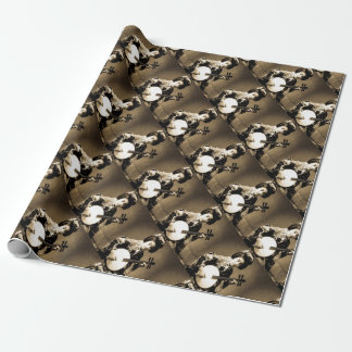 Vintage Sepia Toned Japanese Geisha Playing Gekkin Wrapping Paper