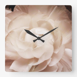 Vintage Sepia White & Cream Ranunculus Background Square Wall Clock