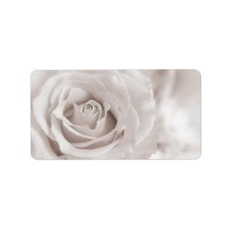 Vintage Sepia White & Cream Rose Background Custom Address Label