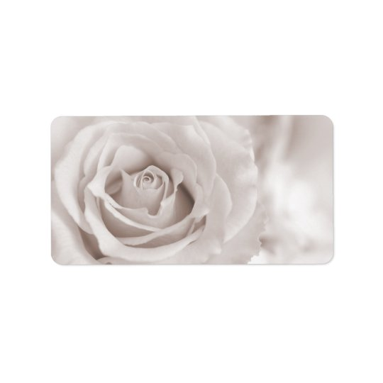 Vintage Sepia White & Cream Rose Background Custom Address Label
