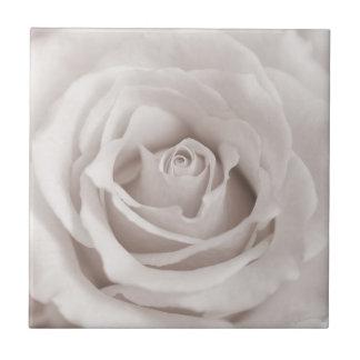 Vintage Sepia White & Cream Rose Background Custom Small Square Tile