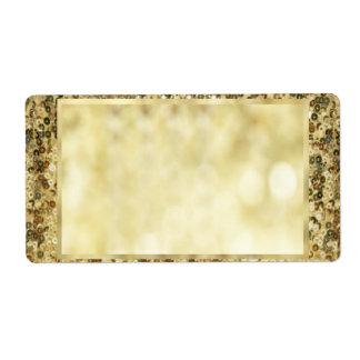 Vintage Sequin Gold Bokeh Template Shipping Label