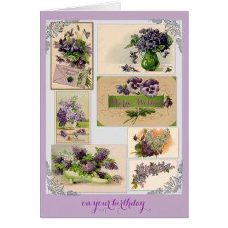 Vintage Seven Purple Bouquets Happy Birthday Card