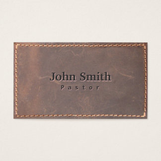 Vintage Sewed Leather Pastor Business Card