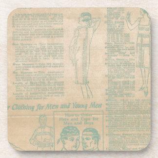 Vintage Sewing Advertisement Blue Coasters