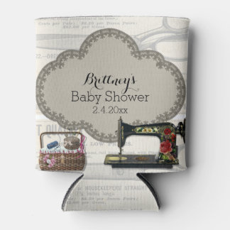 Vintage Sewing Baby Shower Can Cooler