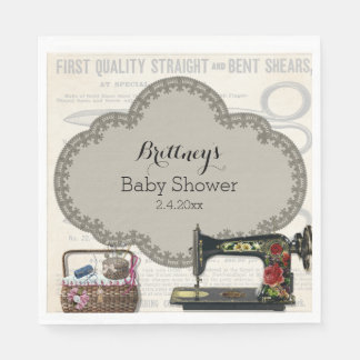 Vintage Sewing Baby Shower Disposable Napkin