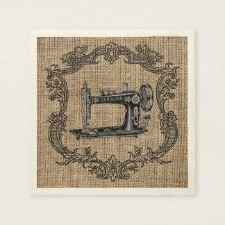 Vintage Sewing Machine Burlap Paper Napkin