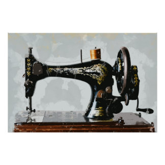 Vintage Sewing Machine Just Like Grandma's Poster