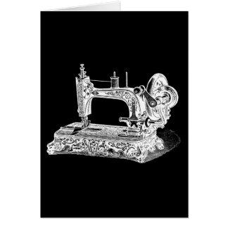 Vintage Sewing Machine Retro Machines White Black Note Card