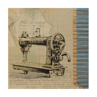 Vintage Sewing Machine Wood Wall Art