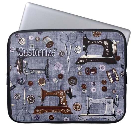 Vintage Sewing Machines Seamstress Laptop Sleeve