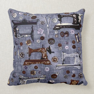 Vintage Sewing Machines Seamstress Throw Pillow