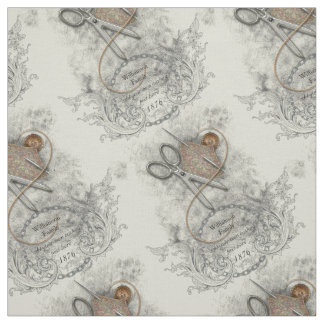 Vintage Sewing Notions Family Heirloom Fabric