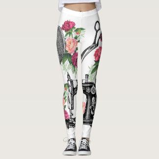 Vintage Sewing Pink Roses Leggings