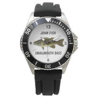 """Vintage SF Denton Painting """"Smallmouth Bass"""" Wristwatch"""
