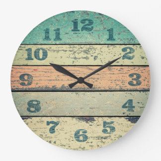 Vintage Shabby Beach Boards Rustic Decorative Wood Large Clock