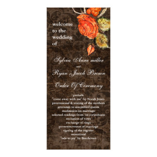 Vintage shabby chic Allure brown wedding program Custom Rack Card