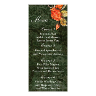 Vintage shabby chic Allure green menu Cards Personalized Rack Card