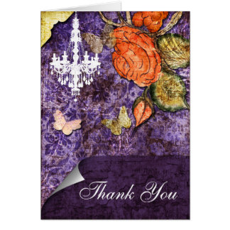 Vintage shabby chic Allure purple Thank You Greeting Card