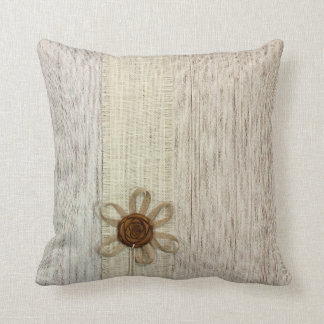Vintage Shabby Chic Beige Ribbon Rose Throw Pillow
