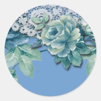 Vintage Shabby Chic Blue Rose Round Sticker