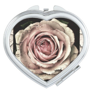 Vintage Shabby Chic Dusky Pink Rose Compact Mirror