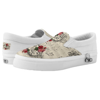 Vintage  Shabby Chic Floral Sheet Music Notes Muse Slip On Shoes
