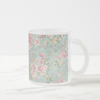 Vintage shabby chic floral teal pink girly elegant coffee mugs