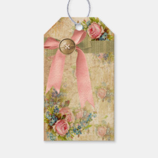 Vintage Shabby Chic Floral with Pink Bow Gift Tag