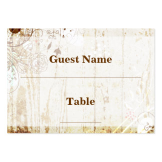 Vintage Shabby Chic Floral Wood Wedding Placecard Business Cards