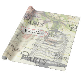 Vintage Shabby-Chic Paris Theme Wedding Customized Wrapping Paper