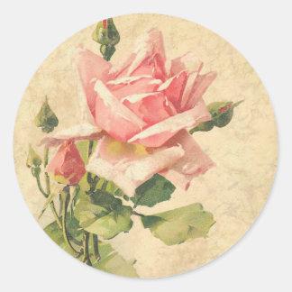 Vintage Shabby Chic Pink Rose Flower Stickers Round Sticker