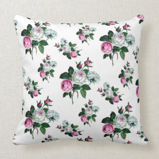 Vintage Shabby Chic Pink White Roses Pattern Cushion