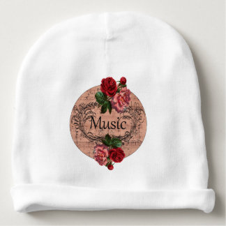 Vintage  Shabby Chic Rose Floral Sheet Music Baby Beanie