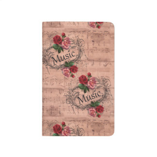 Vintage  Shabby Chic Rose Floral Sheet Music Journal